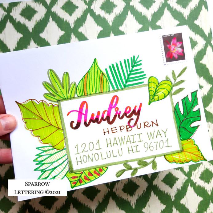 Tropical Leaves Envelope Tutorial