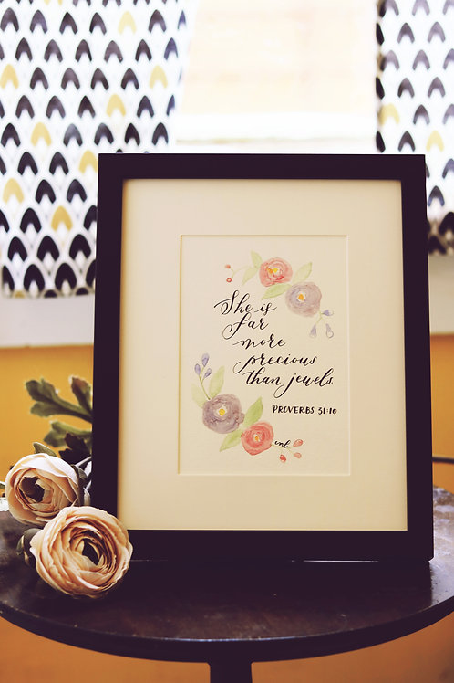 5 x 7 Watercolor Calligraphy - FRAMED
