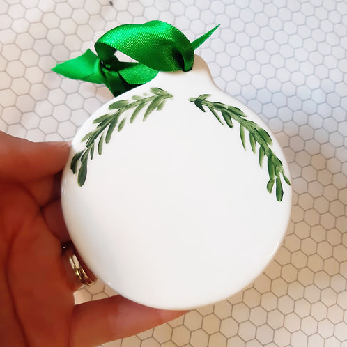 Porcelain Circle Ornament with greenery