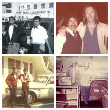 """Una gran cantidad de peruanos que emigraron a Los Ángeles en los años 60 y 70 se establecieron en Hollywood, y muchos de ellos lograron el """"Sueño Americano"""". Muchos de ellos siguieron una carrera y trabajaron mientras estudiaban en diferentes universidades de California. Los trabajos más comunes que tenían eran en restaurantes y valet parking. Peruanos estadounidenses de primera generación que se establecieron en Hollywood en los años 60s y 70s, que comenzaron como obreros progresaron y muchos se convirtieron en dueños de negocios. Pepe León (foto con David Carradine) es un ejemplo, comenzó como valet parking en Hollywood y luego se convirtió en el dueño del restaurante peruano """"José Antonio"""". Kenneth MacKenzie (abajo a la derecha) comenzó a lavar platos en el restaurante """"The Copper Skillet"""" en Sunset and Gower en Hollywood, y se convirtió en inversionista y dueño de un negocio en Hollywood. El área designada por Peru Village simboliza el éxito peruano en los EE. UU. Más inmigrantes peruanos siguieron los pasos de esta primera ola; familiares y amigos llegaron a Hollywood trayendo sus múltiples talentos. La Comunidad Peruano Americana siguió avanzando, creando negocios y construyendo la Herencia Peruana en L.A. El avance de nuestra comunidad fue un producto natural de un rasgo significativo del pueblo peruano: trabajadores duros e inquebrantables en el compromiso de uno. Estas imágenes muestran a algunos de esos peruanos estadounidenses que hicieron del área propuesta de """"Peru Village"""" en Hollywood su hogar, estableciendo su vecindario peruano en los años 60s y 70s."""