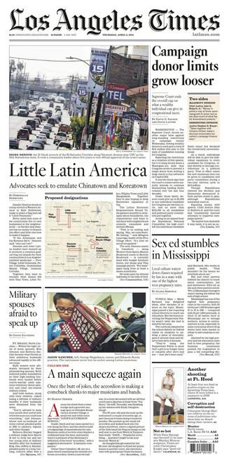 LA Times 2014 Front Page
