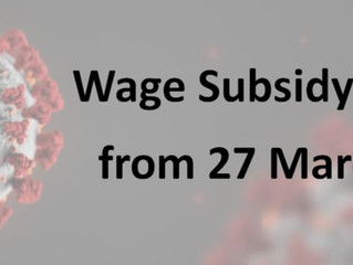 Wage Subsidy Changes from 27 March 2020