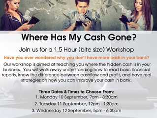 Bite Sized Workshop:  Where Has My Gone Cash
