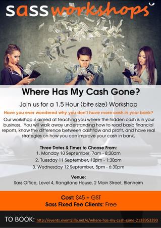 Bite Sized Workshop:  Where Has My Gone Cash