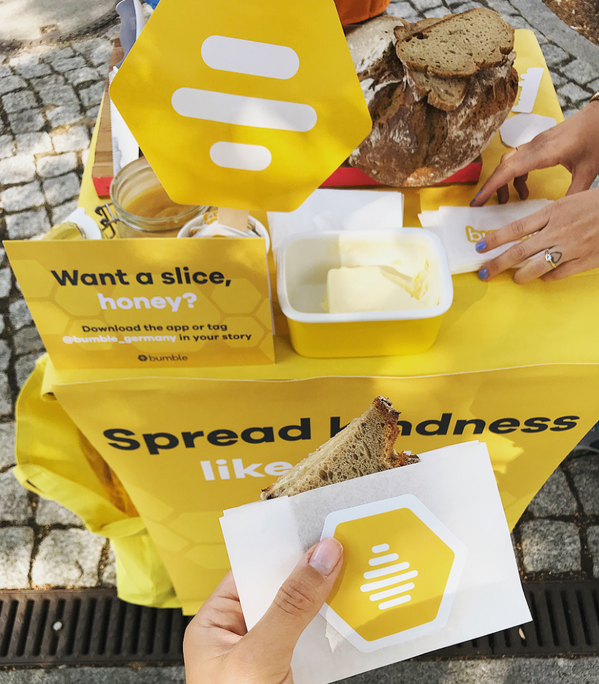 bumble - bread and butter guerilla - 'spread kindness like butter'