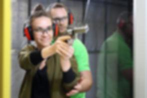 Shooting range. Shooting with a gun. The