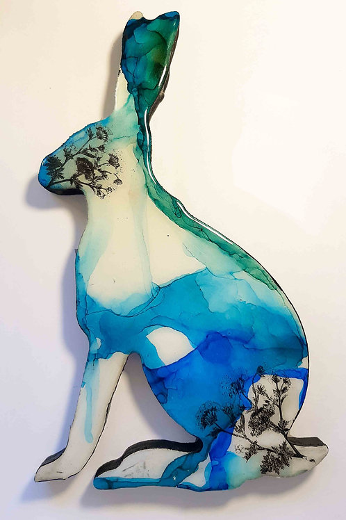 Hare -Alcohol Inks - Blue/green