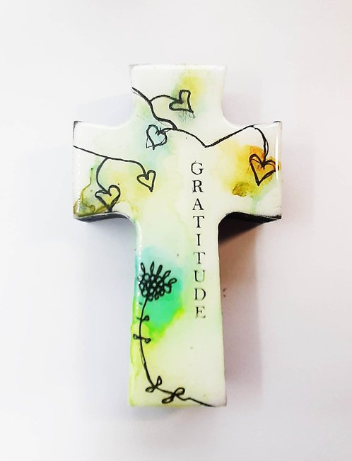 Extra Small Cross - Watercolour flowers - Gratitude