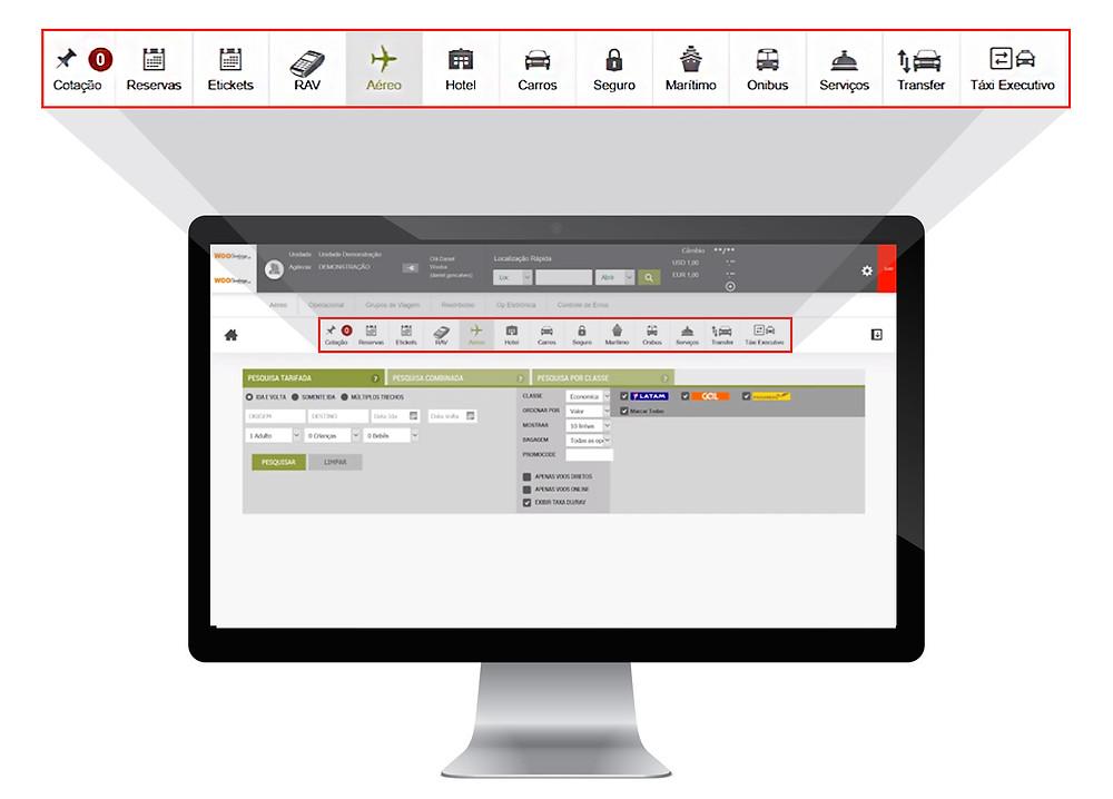 Dashboard Travellink - Front Office: Sistema de vendas para agências de viagens que integra com mais de 85 fornecedores.
