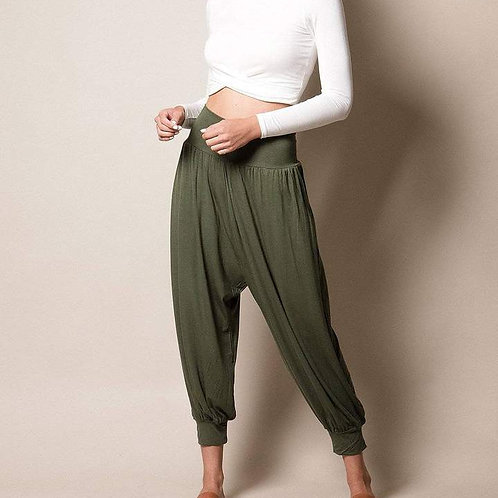 Flowy Harem Pants - Olive