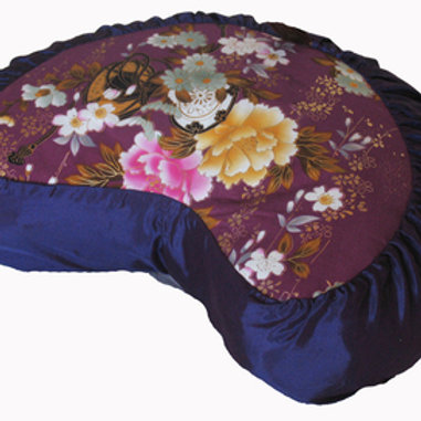 "MEDITATION CUSHION PILLOW CRESCENT ZAFU ""JAPANESE KIMONO SILK"" PURPLE"