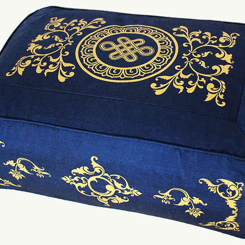 Rectangular Zafu Meditation Cushion Pillow - Blue Endless Knot Celestial Vine