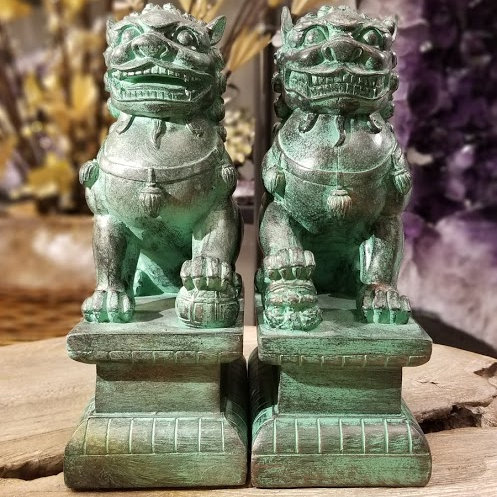 BRONCE GREEN FU LIONS