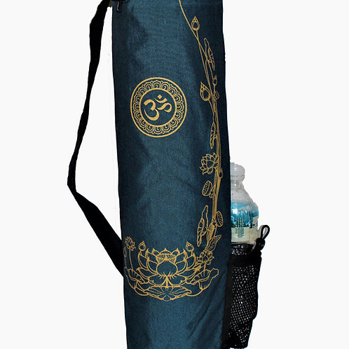 "Yoga Mat Bag ""Om with Golden Lotus"" TEAL"