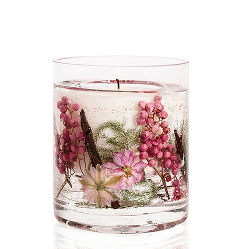 Nature's Gift Pink Pepper Flowers Natural Wax Gel Candle Vase