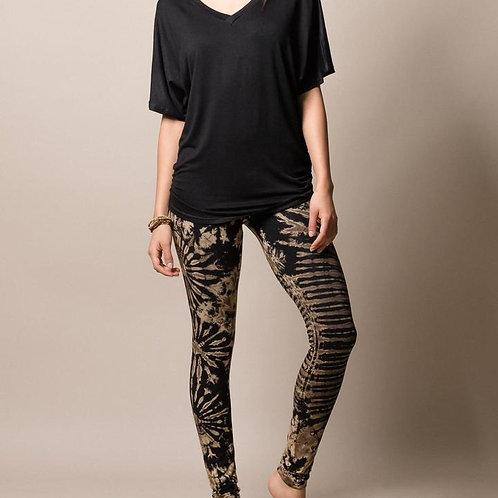 Natural Black Tie-Dye Leggings