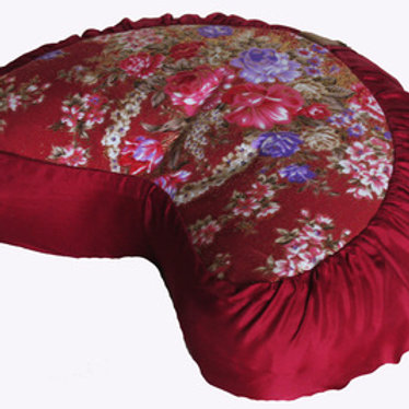 "MEDITATION CUSHION CRESCENT ZAFU PILLOW ""JAPANESE KIMONO SILK"""