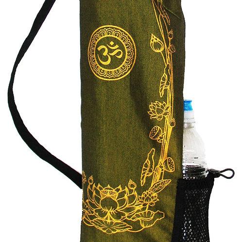 """Yoga Mat Bag """"Om with Golden Lotus"""" OLIVE GREEN"""