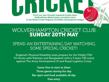 Come watch the England Visually Impaired Cricket Team at Wolverhampton Cricket Club