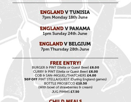Come join us for England's World Cup games