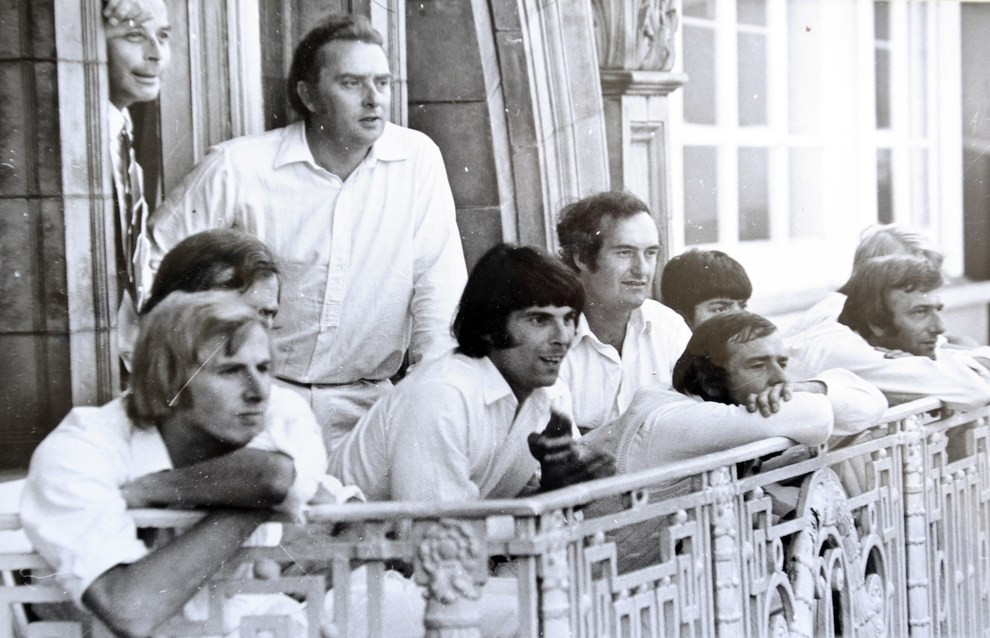 Skipper David Barnes looks on from the balcony at Lord's during Wolverhampton's memorable DH Robins Cup success against Mote (courtesy of the Express and Star)