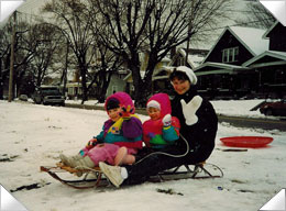 Karen Sledding with Kids