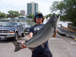 Chinook salmon fishing aboard Reel addiction sport fishing charters,Toronto,Port credit,Bronte,Niagara,