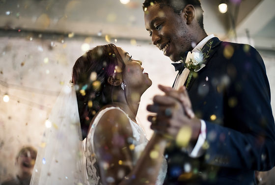 Newlywed African Descent Couple Dancing