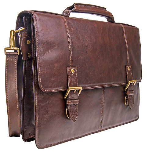 "Hidesign Charles Leather 17"" Briefcase Work Bag"