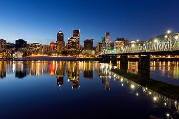 Portland Oregon downtown skyline along W