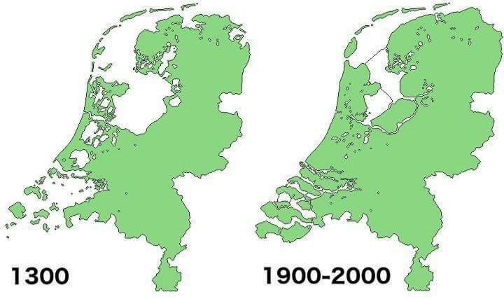 Holanda em 1300 e em 1900-2000