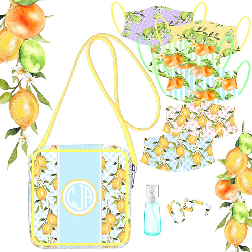 Tutti Frutti Lemon - Blue Gingham
