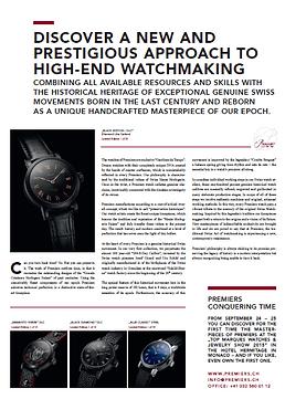Premiers Watches Switzerland News GMT: Great Magazine Of Timepieces