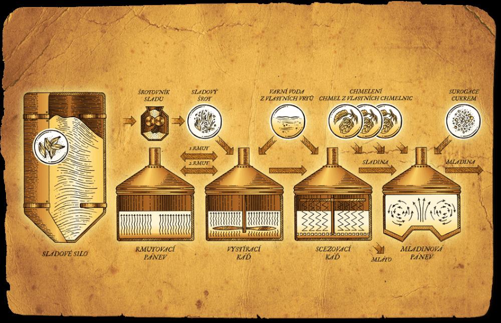 Při následném scezování oddělíme cukerný roztok (sladinu) od obalů zrn (mláta). Sladinu vaříme s chmelem, který přidáváme postupně v několika dávkách. Chmel konzervuje a hlavně dodává pivu příjemně hořkou chuť a vůni. To vše se děje v mladinové pánvi, proces se jmenuje chmelovar a výsledkem je mladina, tedy směs zkvasitlených látek ze sladu, případně surogátu a extraktivních látek z chmele.