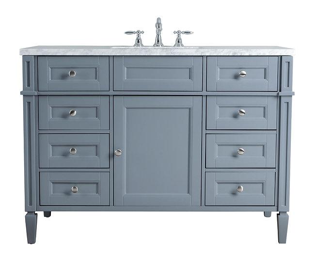 """Anastasia French 48"""" Grey Single Sink Vanity"""