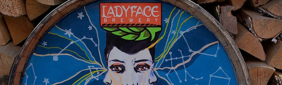 Artwork on barrel at Tavern Tomoko & Ladyface Brewery which serves the best lunch near Old Agoura, Agoura Hills, California.