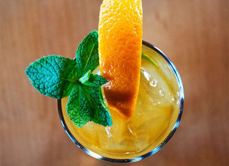 Happy Hour food and mojito drink served at bar near Lake Lindero in Agoura Hills, CA.