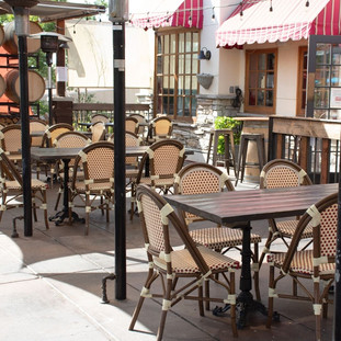 Outdoor patio dining area at Tavern Tomoko.