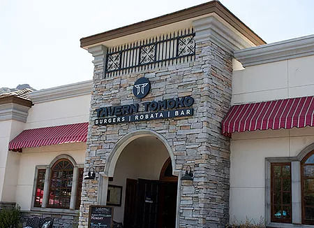 Front view of the exterior of our lunch restaurant near Calabasas, California.