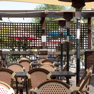 View of outdoor patio seating area.