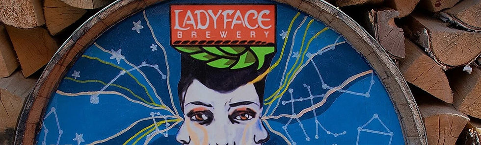 Artwork on barrel at Tavern Tomoko & Ladyface Brewery which serves the best lunch near Kanan Rd, Agoura Hills, California.