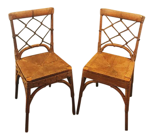 Vintage Rattan Chinese Chippendale Chairs