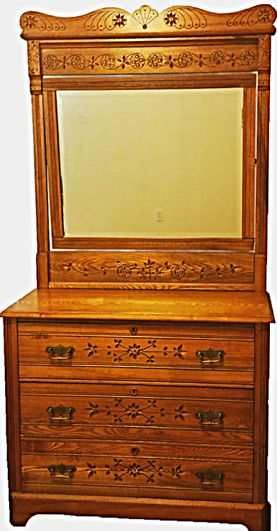 Antique American Chestnut Carved Dresser w/Mirror