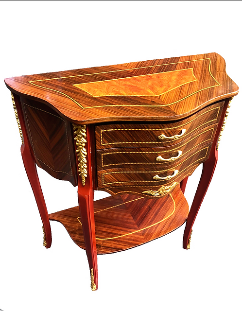 French Louis IV Burl & Walnut Side Table