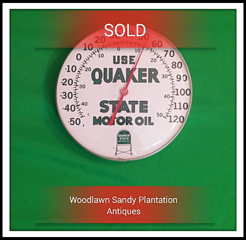 Vintage Quaker State Motor Oil Thermometer/ Sign