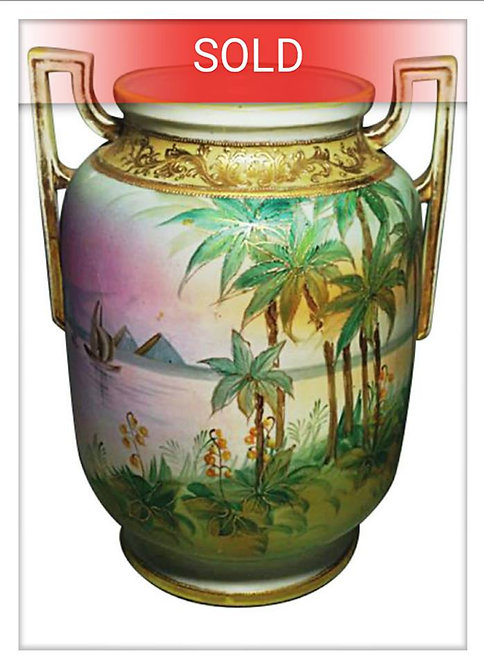 Antique Nippon Art-Deco Hand Painted Gilt Vase