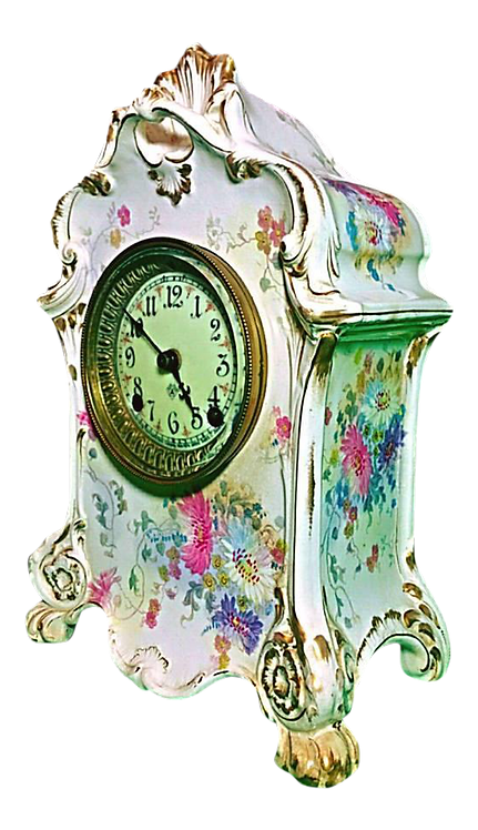Antique Royal Bonn Porcelain Gold Gilt Clock