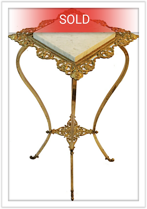 Antique Victorian Brass & Marble Plant Stand/Table