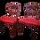 Thumbnail: 1900s Hollywood Regency Red Satin Fabric Mahogany Balloon Chairs - a Pair