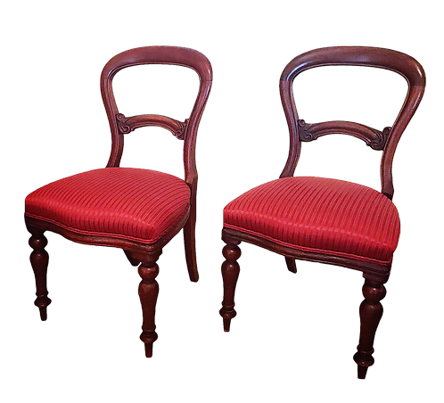 1900s Hollywood Regency Red Satin Fabric Mahogany Balloon Chairs - a Pair